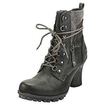 Mustang Side Zip Heel Womens Ankle Boots in Graphite
