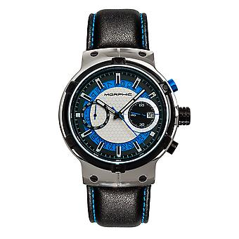 Morphic M91 Series Chronograph Leather-Band Watch w/Date - Silver/Blue
