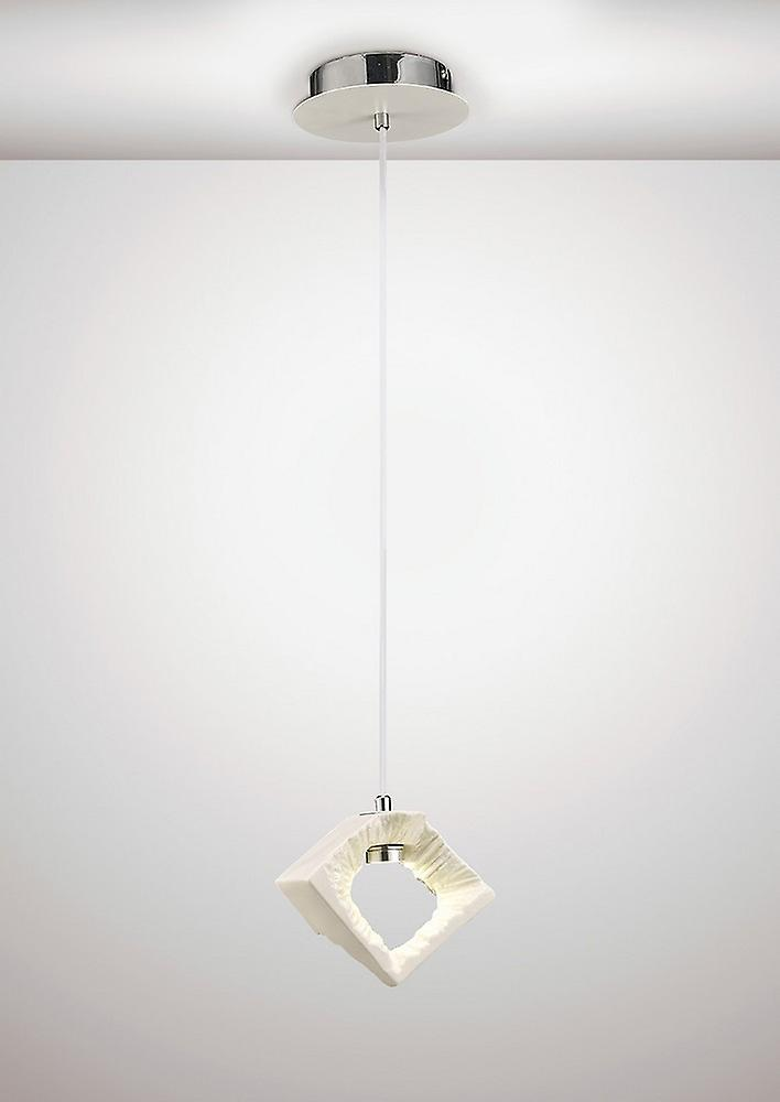 Inspired Diyas - Salvio - Ceramic Square Sculpture Ceiling Pendant 1 x 3W LED Chrome, White