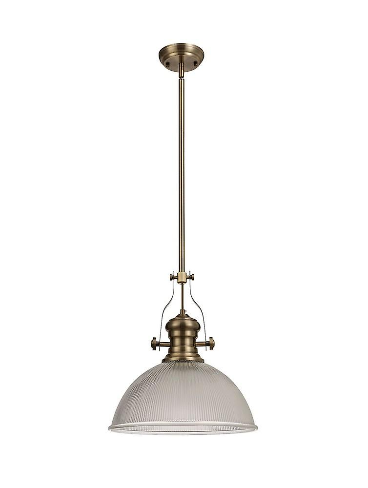 Telescopic Dome Ceiling Pendant E27 With 38cm Dome Glass Shade, Antique Brass, Clear