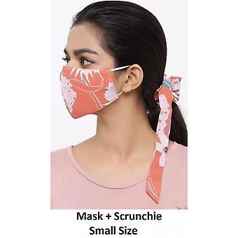 أزياء القطن القابلة للغسل في سن المراهقة الفم مع Scrunchie - الزهور البرتقالي