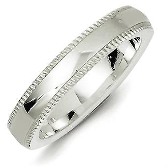 925 Sterling Silver 4mm Comfort Fit Milgrain Band Ring - Ring Size: 4 to 13.5