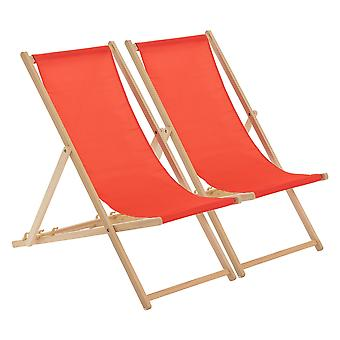 Traditional Adjustable Wooden Beach Garden Deck Chair - Red - Pack of 2