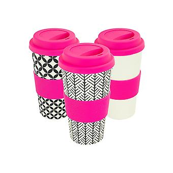 Reusable Coffee Cups - Bamboo Fibre Travel Mugs with Silicone Lid, Sleeve - 400ml (14oz) - 3 Patterns - Pink - x6