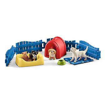 Schleich Farm World Welpen Stift und Welpen Spielzeug Figuren (42480)