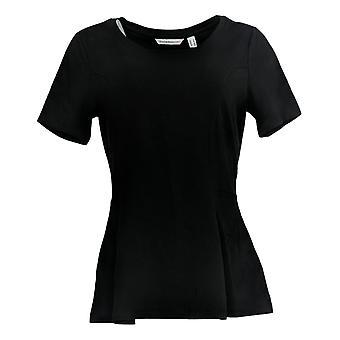 Isaac Mizrahi Live! Vrouwen ' s top korte-mouw gefelst peplum zwart A354253