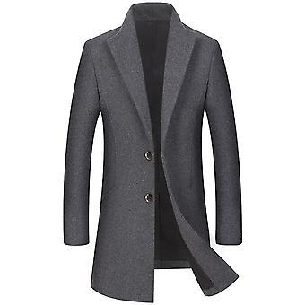 YANGFAN Mens Revers Mid length coat lange mouwen wollen overjas