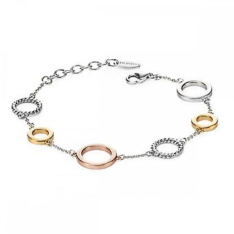 Fiorelli Silver Open Disc Station Bracelet Rose White Gold Plating B4721