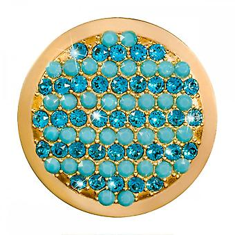 Nikki Lissoni Fashionable Turquoise Medium Gold Plated Coin C1396GM