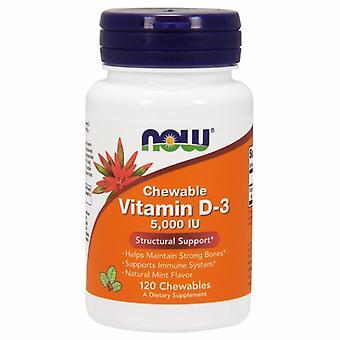 Agora alimentos Vitamina D-3 5000 UI, sabor hortelã120 Mastigadores