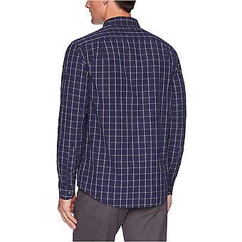 أساسيات الرجال & apos;ق العادية تناسب طويلة الأكمام عارضة قميص بوبلين, البحرية الفوز ...