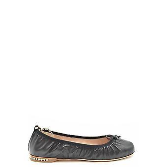 Miu Miu Ezbc057040 Women's Black Leather Flats
