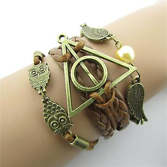Vintage  Multilayer Bracelet Hollow Triangle Geometric Owl Wings Wave