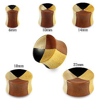 0 Gauge ( 8MM ) Double Flared Natural Checker Teak, Black Iron, Crocodile and Saba Wood Convex Saddle Gauge Ear Plug
