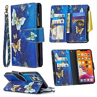 For iPhone 11 Pro Max Colored Drawing Pattern Zipper Horizontal Flip Leather Case with Holder & Card Slots & Wallet(Golden Butterfly)