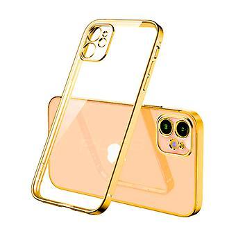 PUGB iPhone 12 Case Luxe Frame Bumper - Case Cover Silicone TPU Anti-Shock Gold