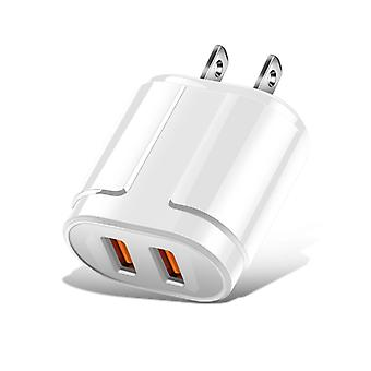 Kannettava Dual USB -matkapuhelintabletti Universal Charging Head Travel Charger, US Plug (Valkoinen)