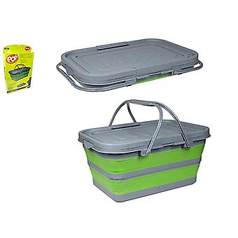 Summit Pop! 37L Litre Folding Cool Box Camping Picnic Compact Folding Collapsible - Lime/Grey