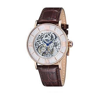 Thomas Earnshaw ES-8038-03 Darwin Rose Gold & Brown Leather Mens Automatic Skeleton Watch