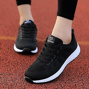 Women Shoes Flats, Casual Ladies Walking Basket Lace-up Mesh, Breathable Female