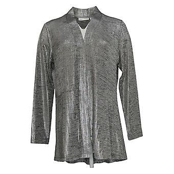 Susan Graver Women's Sweater Foil Print Collared Cardigan Silver A343099