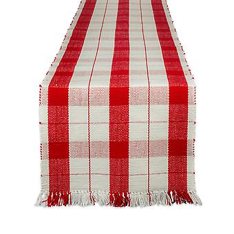 Dii Red Tinsel Plaid Fringed Table Runner