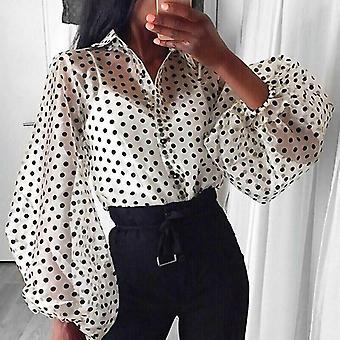 Nők Polka Dot Retro Blúz Lady kora őszi modern mesh ing