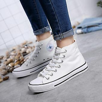 Men Canvas Sneakers Lovers Comfortable Shoes Flats Casual Women Red White Black