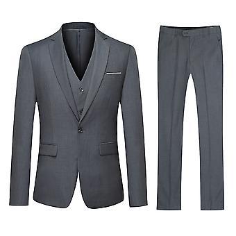YANGFAN Men's 3 Pcs 1 Button Solid Color Suit Wedding Formal Blazer