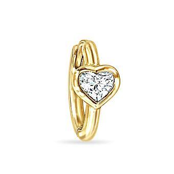 Cercei Diamond Solitaire 0.20 Carate Heart Clipper-18K Gold