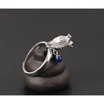 925 Hollow, Small Flower Ring-lapis Turquoise Adjustable