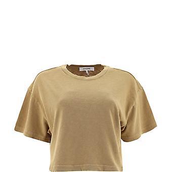 Frame Lwts1297vintagecamel Women's Beige Cotton T-shirt