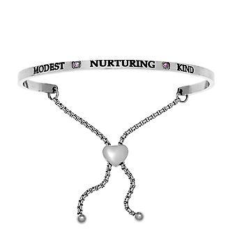 "Intuitions Stainless Steel Modest, Nurturing, Kind June Lite Purple Birthstone  Bangle Bracelet, 7"""