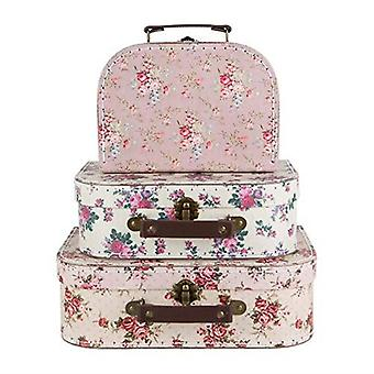 Mini Vintage Rose Suitcases x 3 - Vintage Floral Design - Wedding Decoration