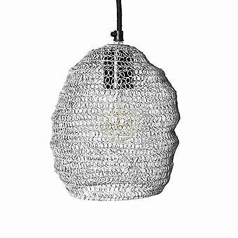 Lampe de pendentif construit en métal moderne avec des fils en boucle, argent