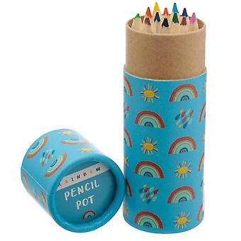 Tube de crayon de coloration d'enfants d'amusement - arc-en-ciel