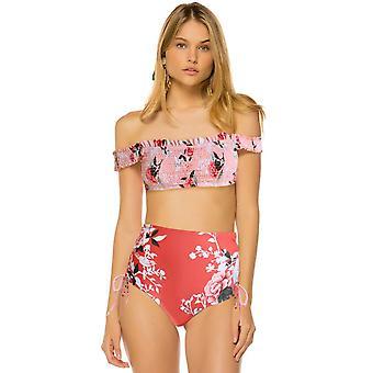 Pink Off-the-shoulder Smocked Floral High Waist Bikini Set