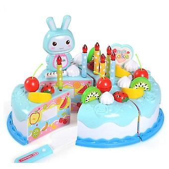 Pretend Play Set Plastic Food Toy, Diy Cake, Cutting Fruit, Vegetable,