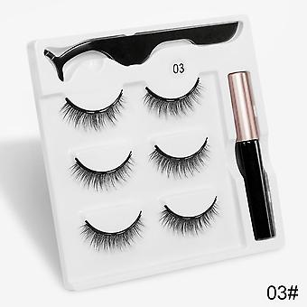 Magnetic Eyelashes, 3d Mink False Lashes, Eyeliner, Waterproof Liquid Tweezers