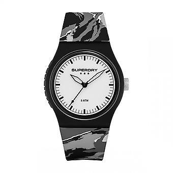 Superdry Watch SYL270EW-Urban camo pop runde sag i sort plastik dial hvid dial silikone armbånd grå mønstre