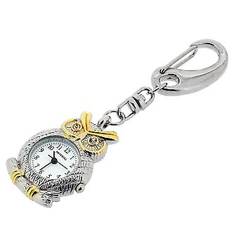GTP Ladies-Teens Owl with CZ Eyes Key Ring Clock Chrome & Gold Plated On Alloy In Presentation Box IMP743