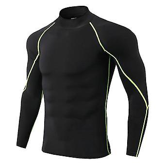 スポーツランニング、スタンドカラー、ジムロングスリーブ、スポーツウェアTシャツ