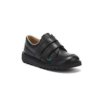 Kickers Toddlers Kick Lo Velcro Black Leather Shoes