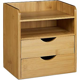 HanFei Schreibtisch-Organizer HBT: 21x20x13cm Ablagesystem aus Bambus fr den Schreibtisch Organizer