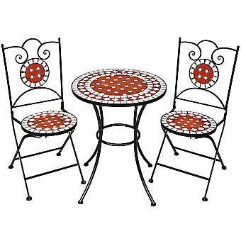 tectake Café sett med mosaikk, 2 stoler + bord Ø 60 cm - brun