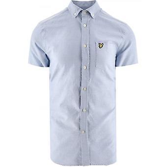 Lyle & Scott azul manga corta peso ligero Slub Oxford camisa