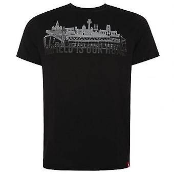 Liverpool Anfield Skyline T Shirt Mens Black S