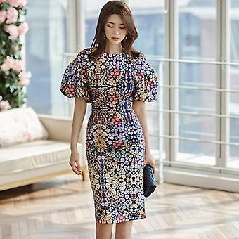 Queen Flower Print Suits, Vrouwen Zomer O-hals Shirt Top