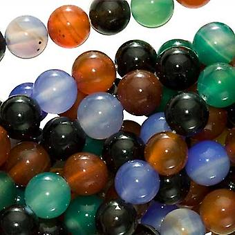 Gemstone Beads, Agate, Round 8mm, 15 Inch Strand, Color Mix