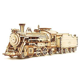 DIY 308pcs Laser Cutting bevægelige Damp Train Træ Model Building Kits Samling Legetøj Gave til børn Voksen MC501